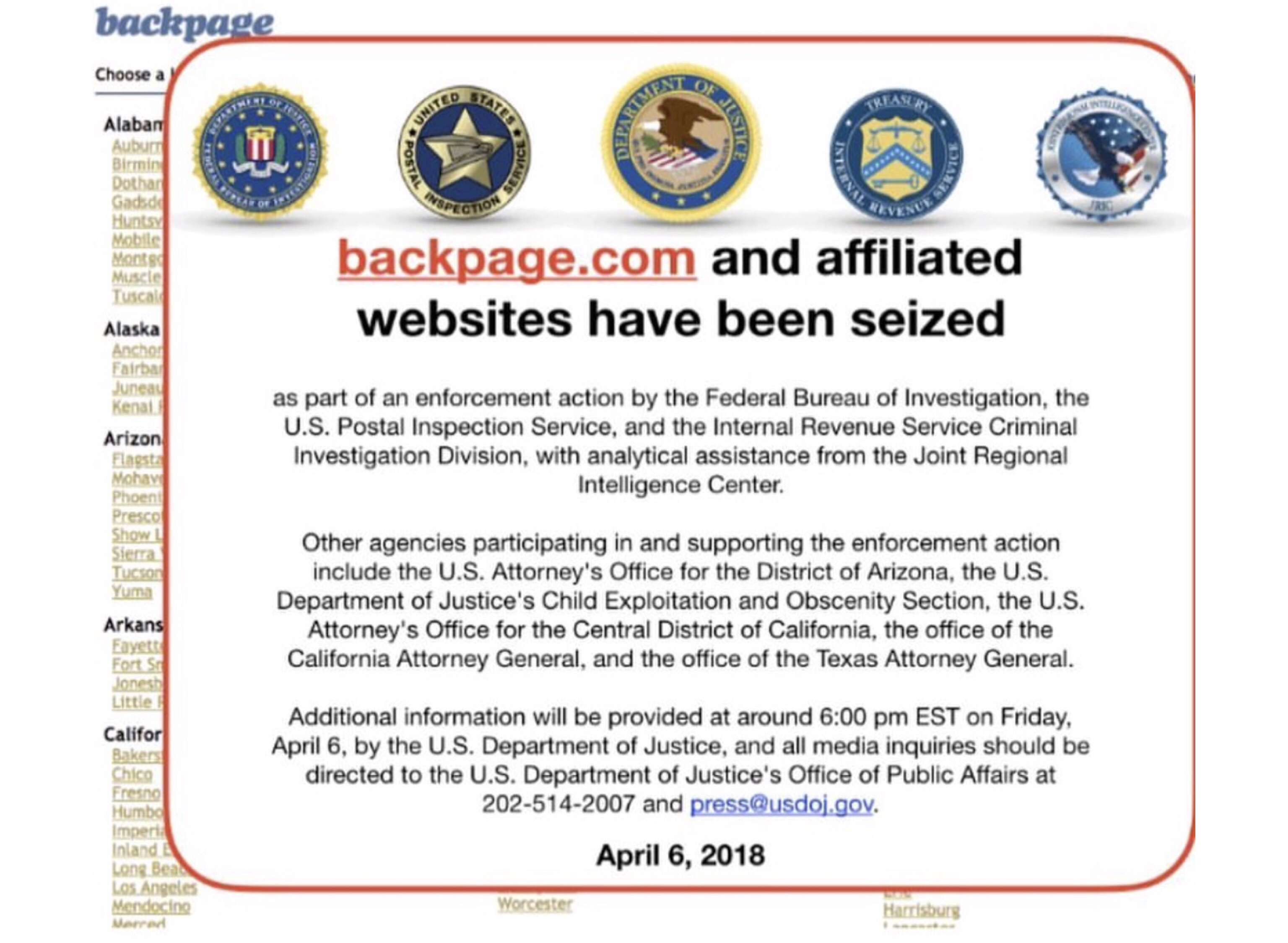 The Feds Seize Backpage Website