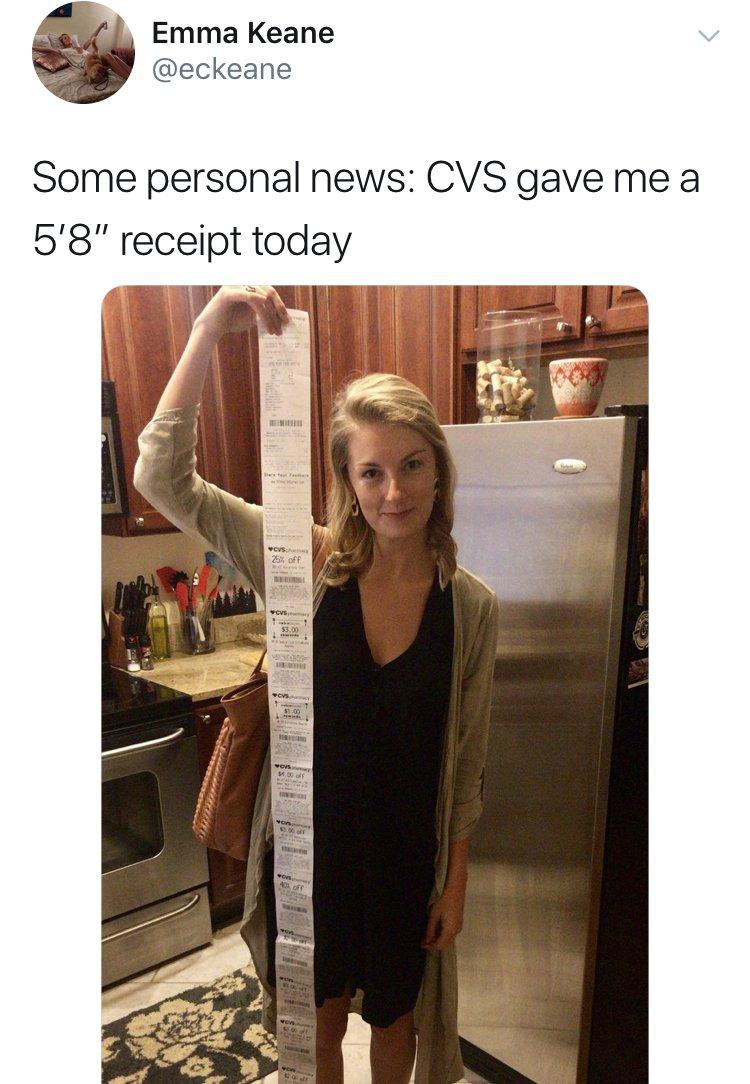 A Woman Got A 6-Foot CVS Receipt After Only Buying 3 Items