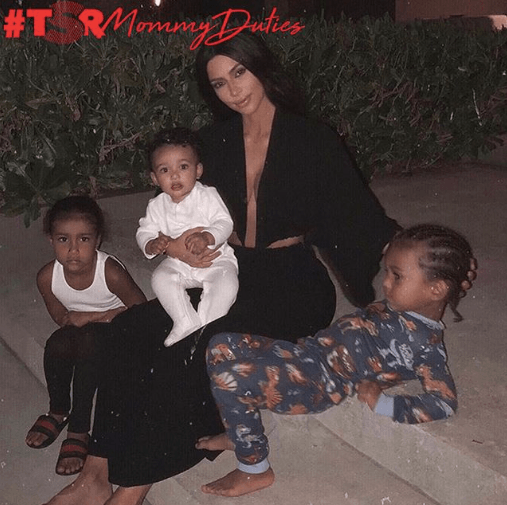 Kim Kardashian West On #MommyDuties With North, Saint & Chicago
