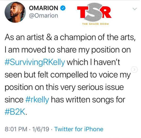 Omarion speaks on #SurvivingRKelly on twitter