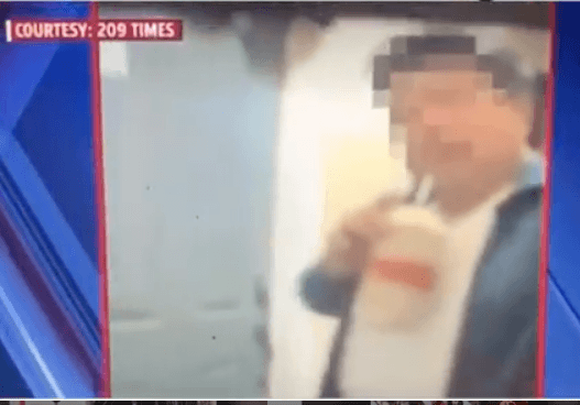Delivery Man gets caught sipping from the drink he was delivering