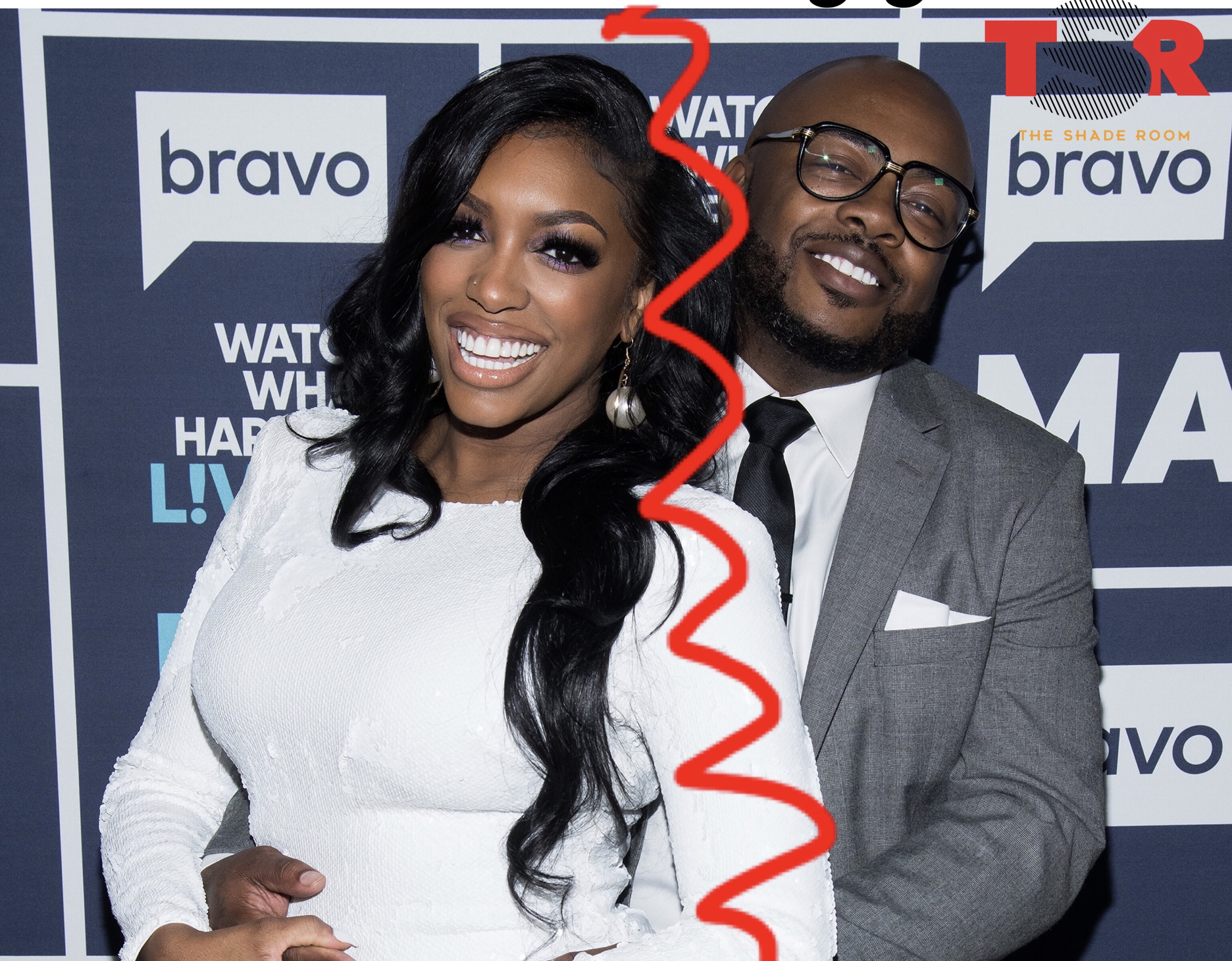 Porsha Williams and Dennis McKinley stand in front of a Bravo step and repeat embracing there's a red line drawn between them