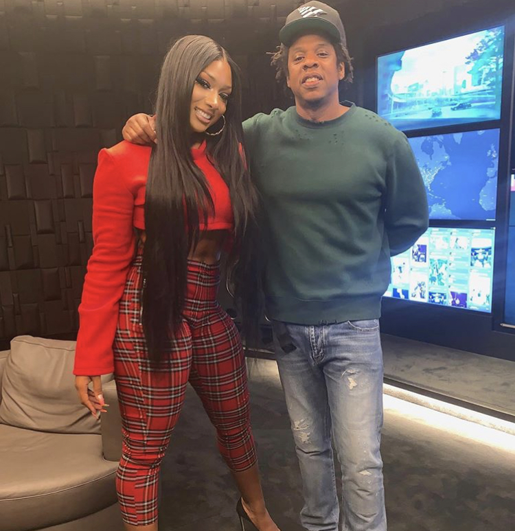 Megan Thee Stallion took to social media to announce that she is now a part of the Roc Nation family as she posed for a photo with Jay-Z.