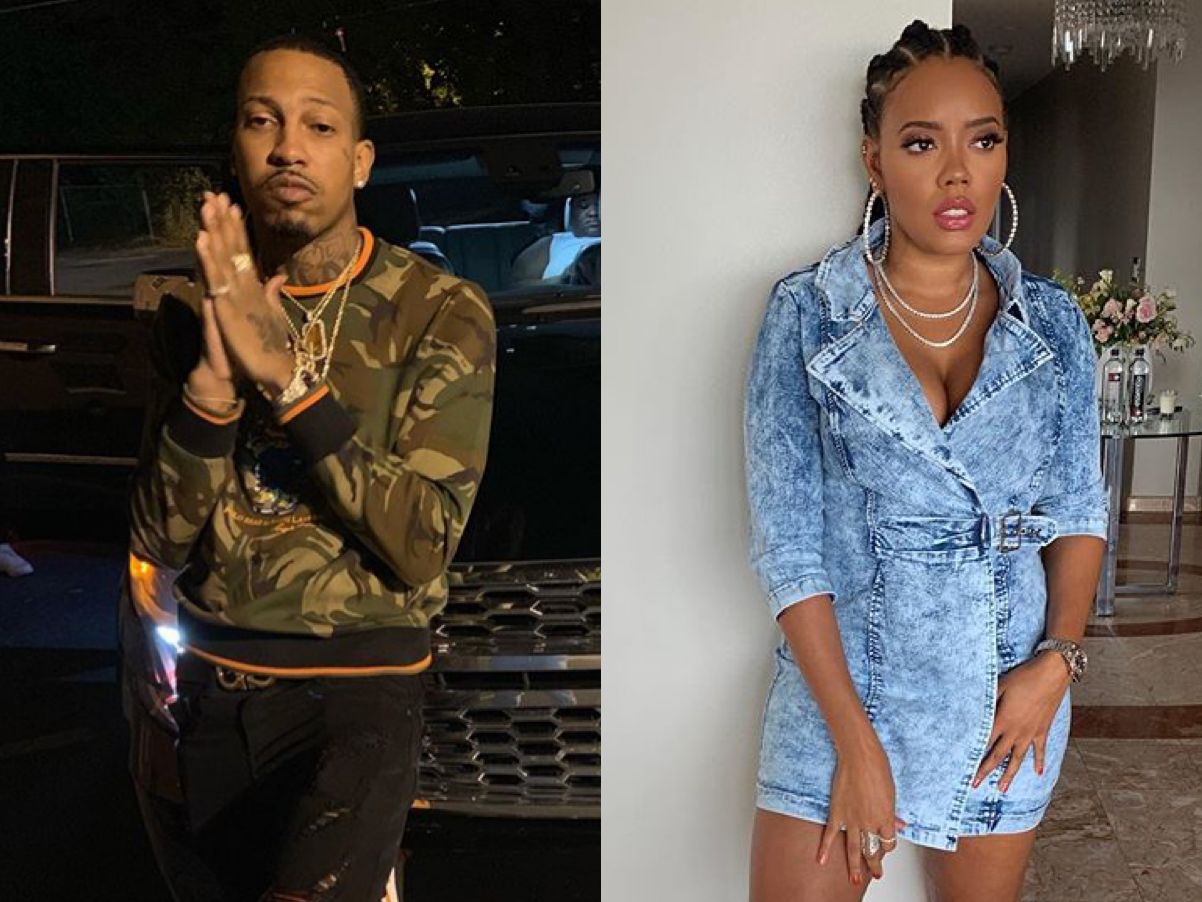Trouble reposted photos of Angela Simmons and tags her as she poses with a bag of Cheetos and seemingly shoots his shot at her.