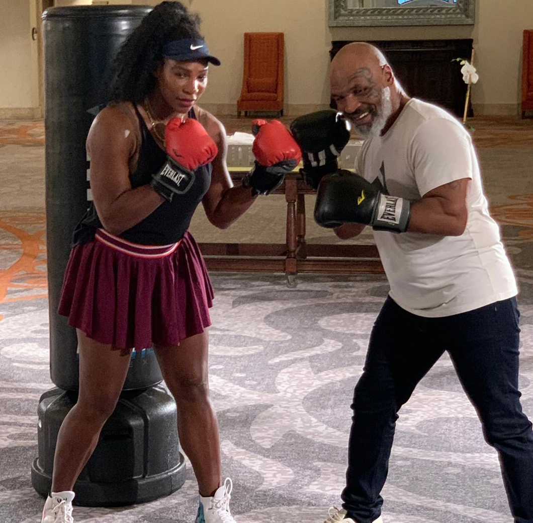Serena Williams and Mike Tyson took to social media to show off their preseason workout session as they worked on some boxing moves.