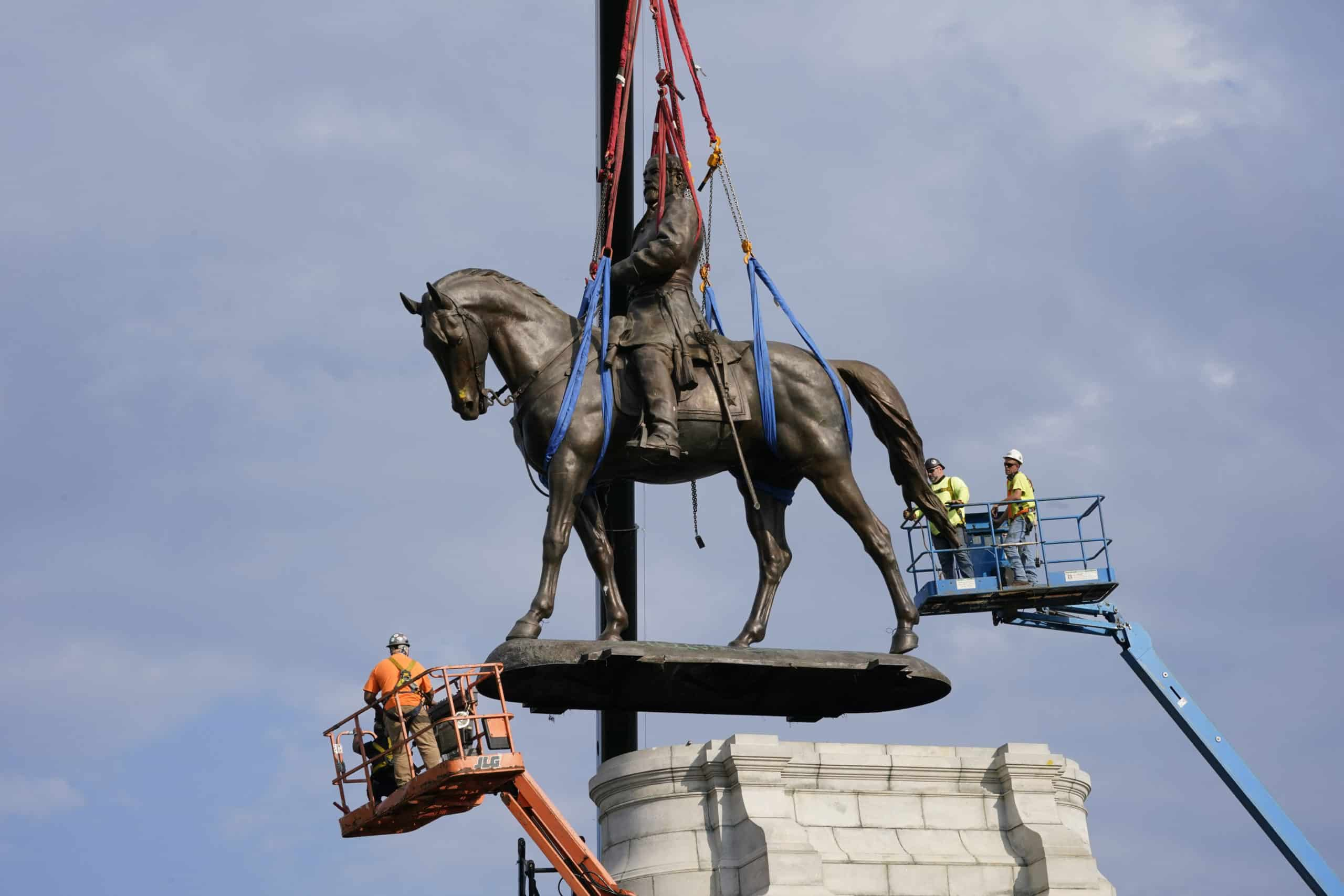 The statue of Confederate General Robert E. Lee was removed from Monument Avenue in Richmond, Virginia after a year of deliberation.